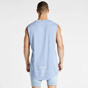 Untold Story Dual Curved Muscle Tee Acid Sky Blue