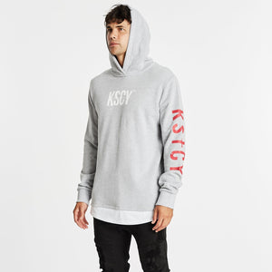 Vernon Layered Cape Back Hoodie Grey Marle