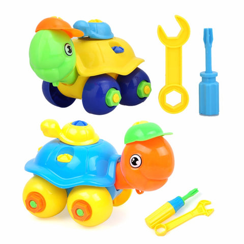 New DIY Disassembling Small Turtle Puzzle Children Assembled Model Tool  Clamp With Screwdriver Educational Toys Random