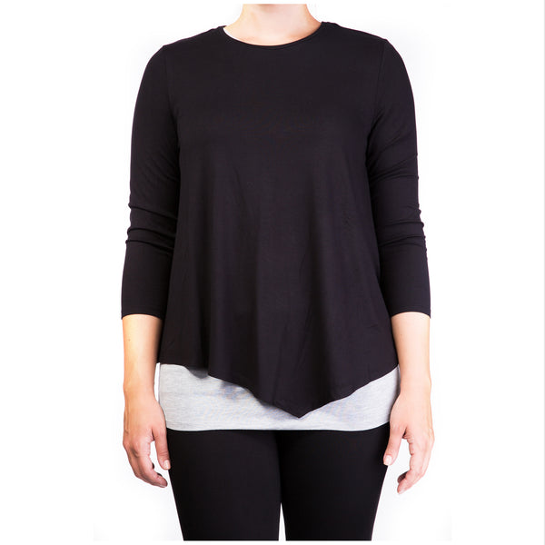 double layer maternity & nursing top - black & grey