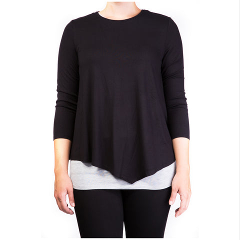 Mama basics double layer maternity & nursing top - black & grey
