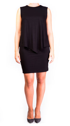 mama basics double layer maternity & nursing sleeveless dress - black