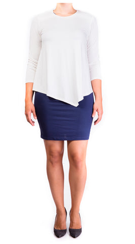 mama basics double layer maternity & nursing dress - cream top & navy skirt
