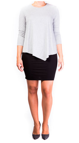 Mama Basics Double Layer Maternity & Nursing Dress - grey top & black skirt