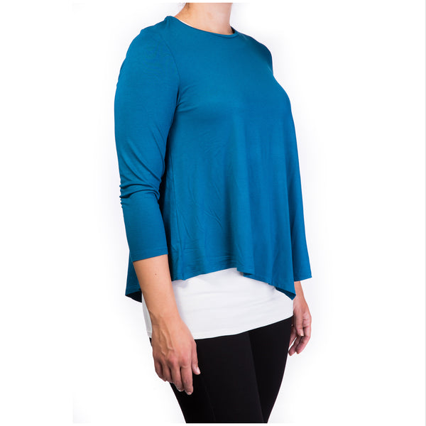 double layer maternity & nursing top - green petroleum & cream