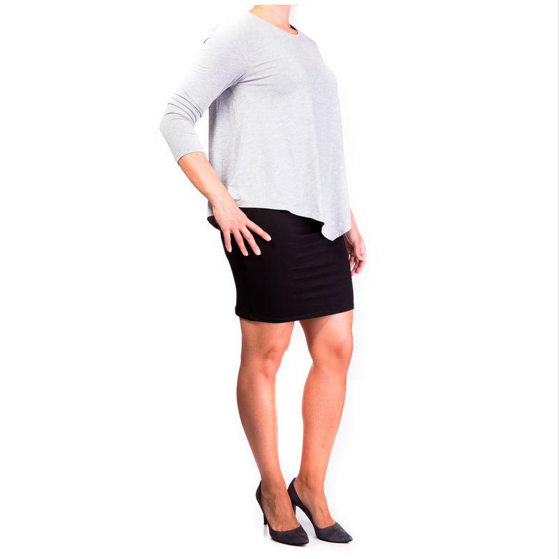 Double Layer Maternity & Nursing Dress - grey top & black skirt