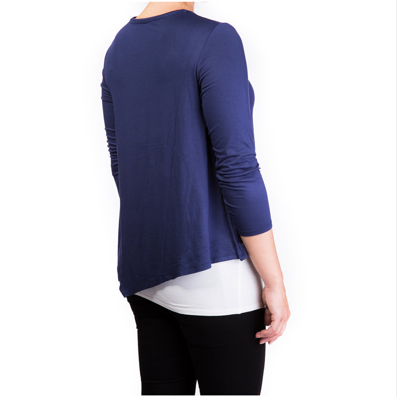 double layer maternity & nursing top - navy & cream