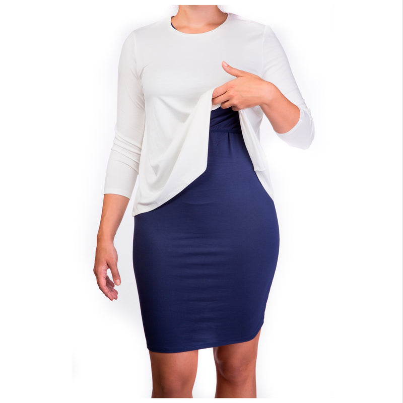Double layer maternity & nursing dress - cream top & navy skirt