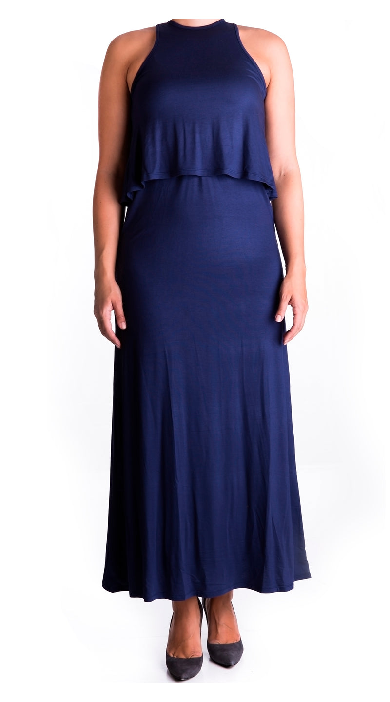 double layer maxi maternity & nursing dress - navy blue