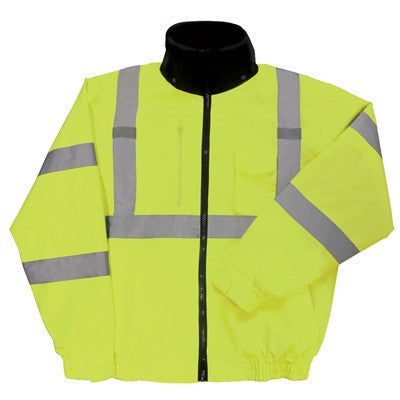 ERB W510 Class 3 Bomber Jacket with Removable Fleece Liner - Yellow/Lime