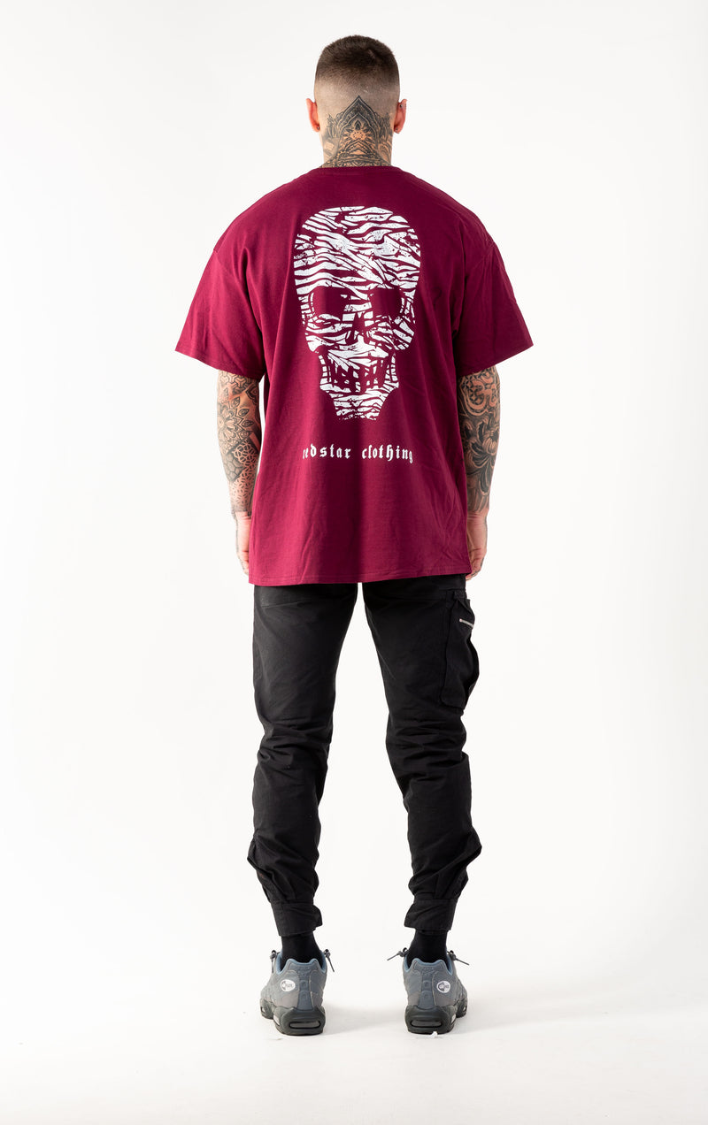 RSC Striped Skull Burgundy Tshirt - Back print