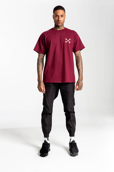 Redstar World Tour Burgundy Tshirt - Back print & Front Embroidery