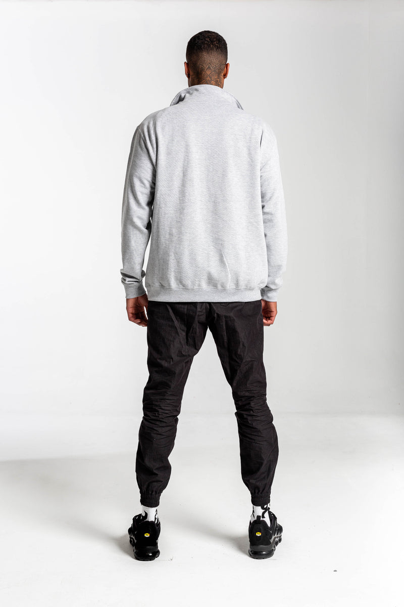 Redstar Grey Quarter Zip Sweat - Front Embroidery