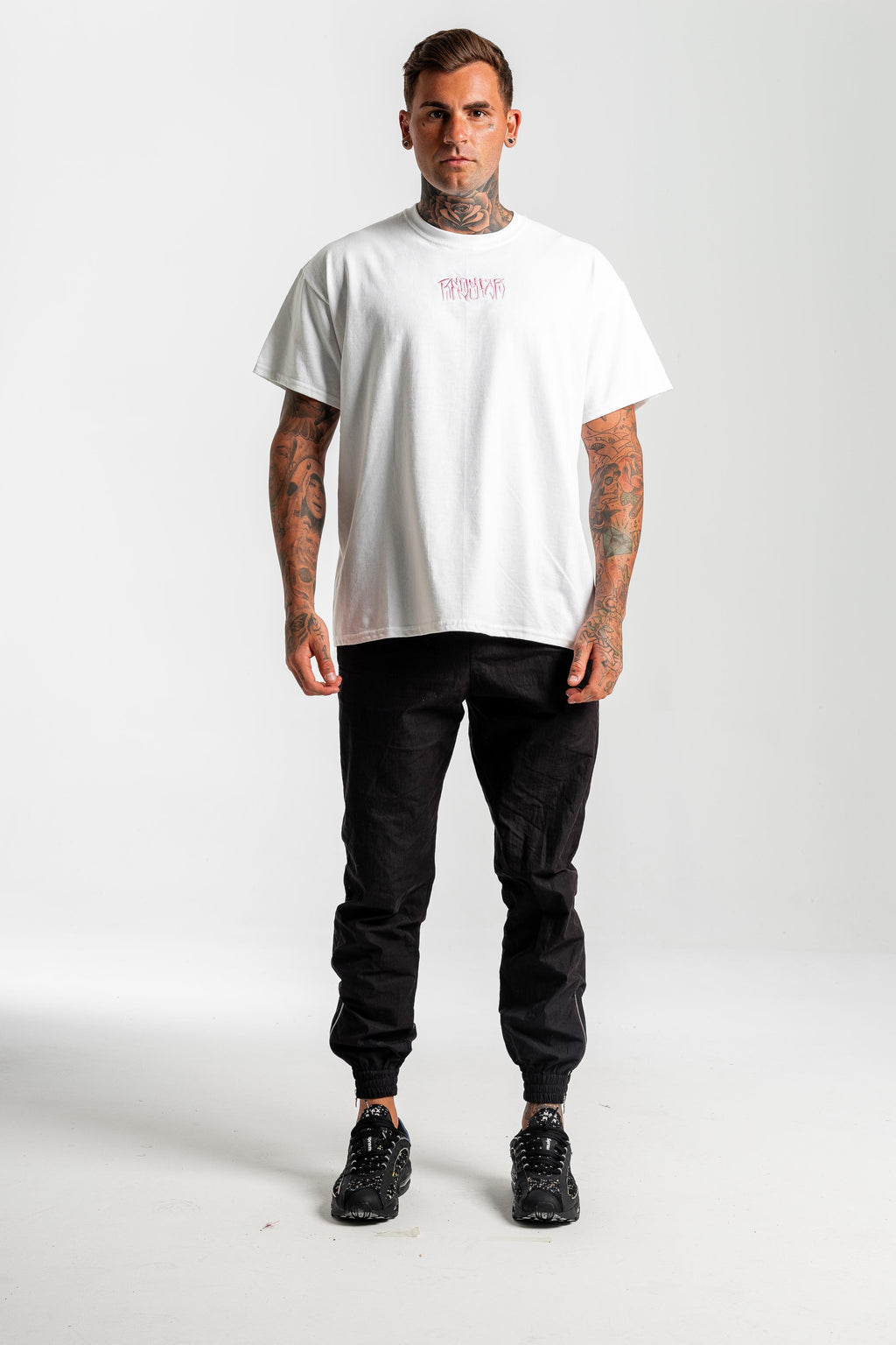 Onyx White Tshirt - Front embroidery & back print