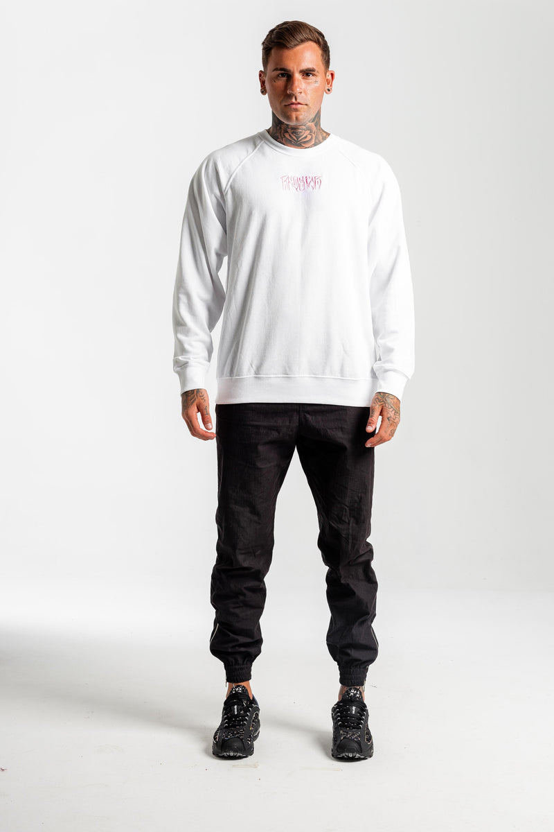 Onyx White Sweater - Front embroidery & back print