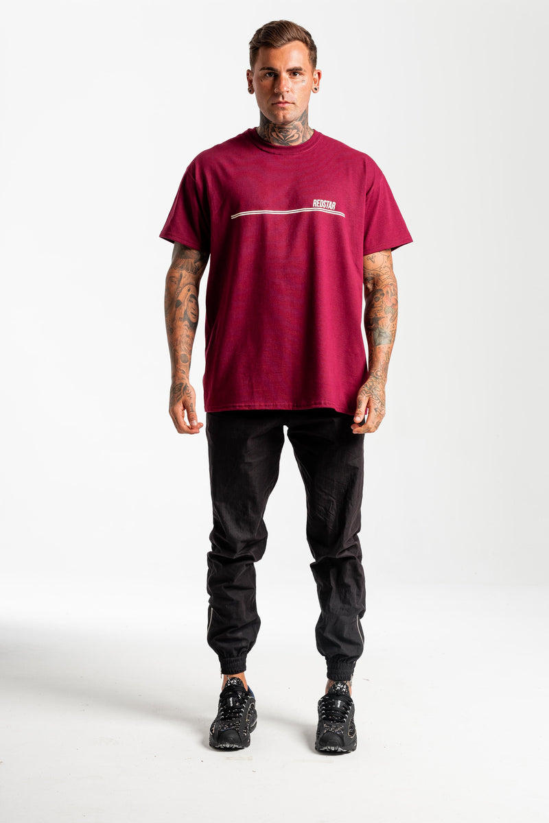 Double Stripe Burgundy Tshirt - Front print