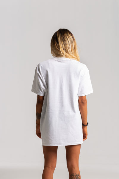 Ladies Distressed G White Tshirt