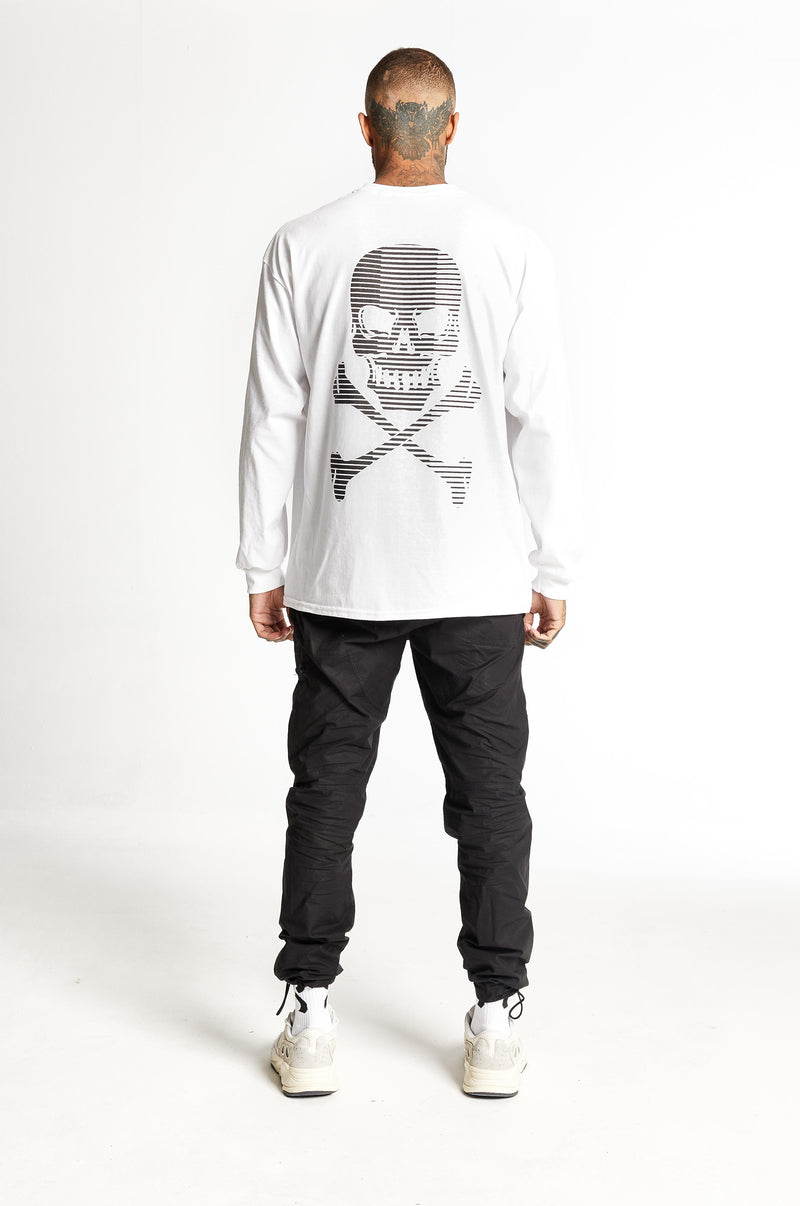 Stripe Skull L/S White