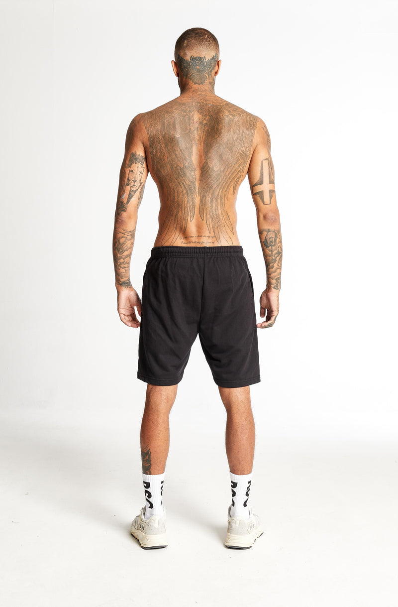 Corroded Logo Sweat Shorts Black