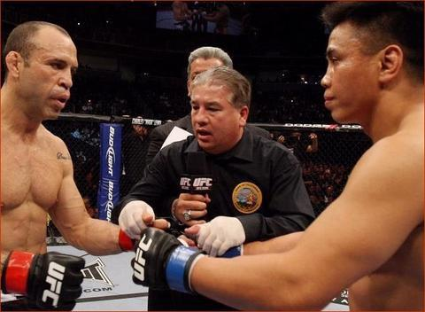 UFC Fighters Cung Lee vs Wanderlei Silva with Referee Danny Bam Bam Stell