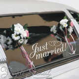white-oracal-removable-vinyl-on-wedding-get-away-car-just-married-photo-courtesy-of-The-Simple-Stencil