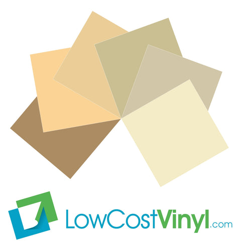 Oracal 631 Ivory & Beige Vinyl - 6 Beautiful Matte Finish Shades - 12 inch Sheets For Cricut, Silhouette & Vinyl Cutters