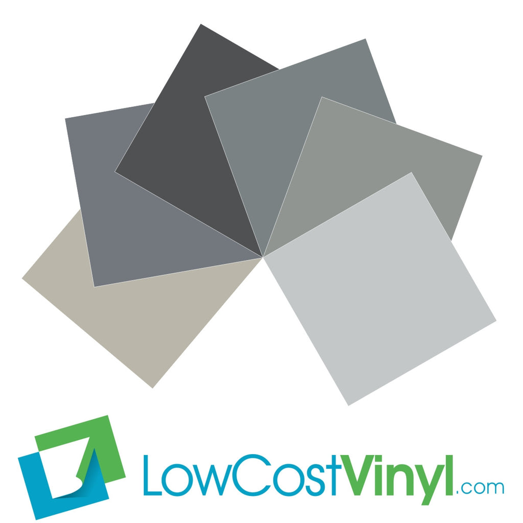 Oracal 631 Grey & Silver Vinyl - 6 Beautiful Matte Finish Shades - 12 inch Sheets For Cricut, Silhouette & Vinyl Cutters