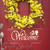 Welcome Vinyl Decal on Red Front Door using Oracal 814 Ivory Vinyl - Photo courtesy of TheSimpleStencil.com