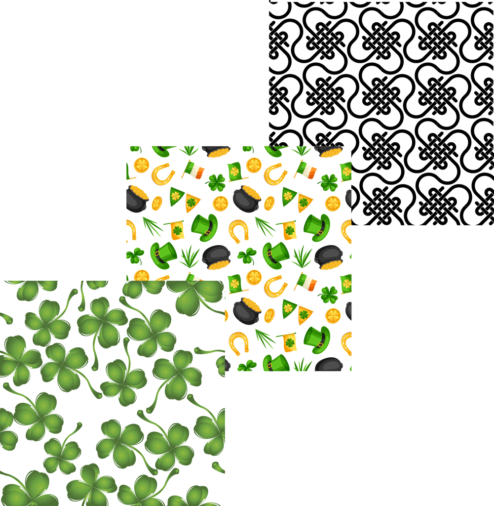 Irish St. Patrick's Day Patterned Vinyl Set - Custom Printed Oracal 651 Vinyl 12 x 12 inch sheets