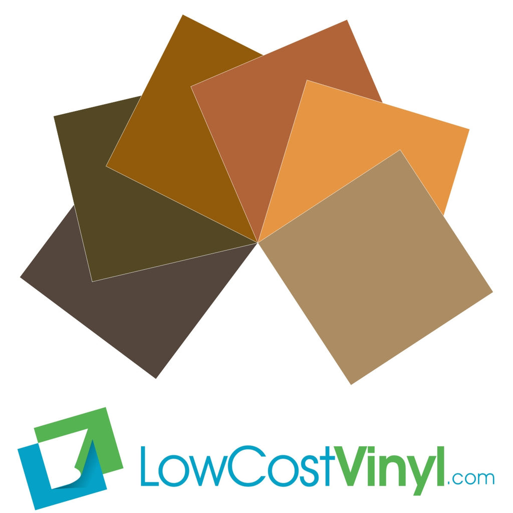 Oracal 631 Brown Vinyl - 6 Beautiful Matte Finish Shades - 12 inch Sheets For Cricut, Silhouette & Vinyl Cutters