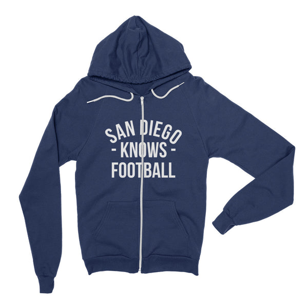 San Diego Knows Football Zip Hoodie (Unisex)