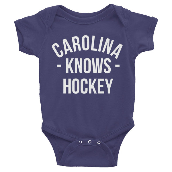 Carolina Knows Hockey Baby Onesie