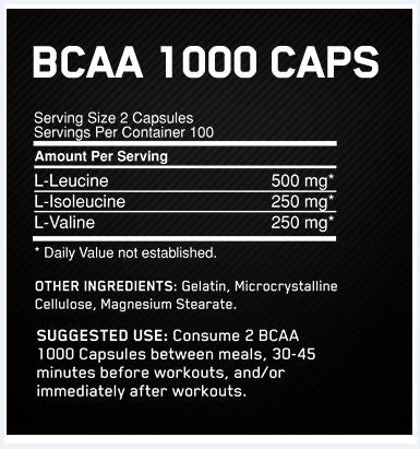 Optimum Nutrition BCAA 1000 Caps Facts