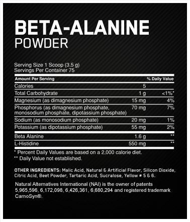 Optimum Nutrition Beta Alanine Powder Facts
