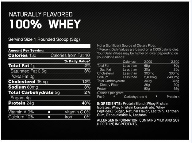 OPTIMUM NUTRITION 100% NATURAL WHEY Facts