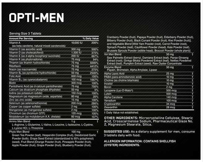 Optimum Nutrition Opti Men Facts