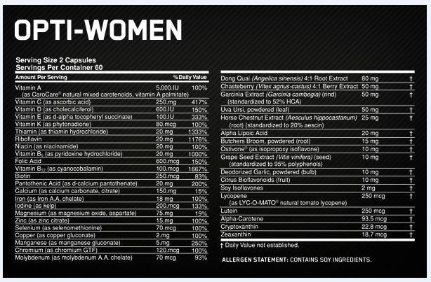 Optimum Nutrition Opti Woman Facts