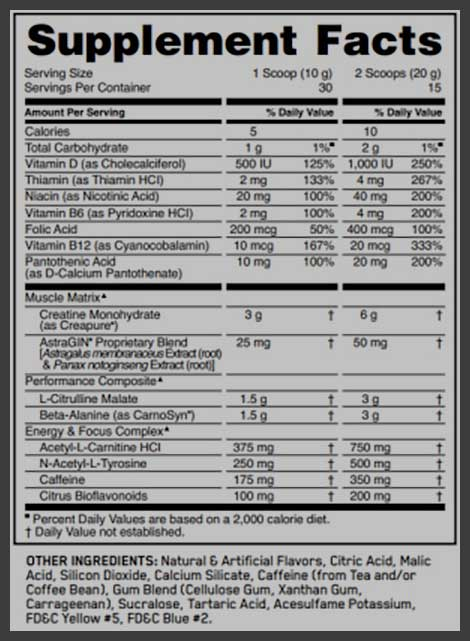 Optimum Nutrition Pre Workout Facts
