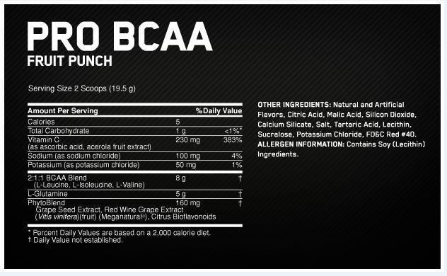 Optimum Nutrition Pro BCAA Facts