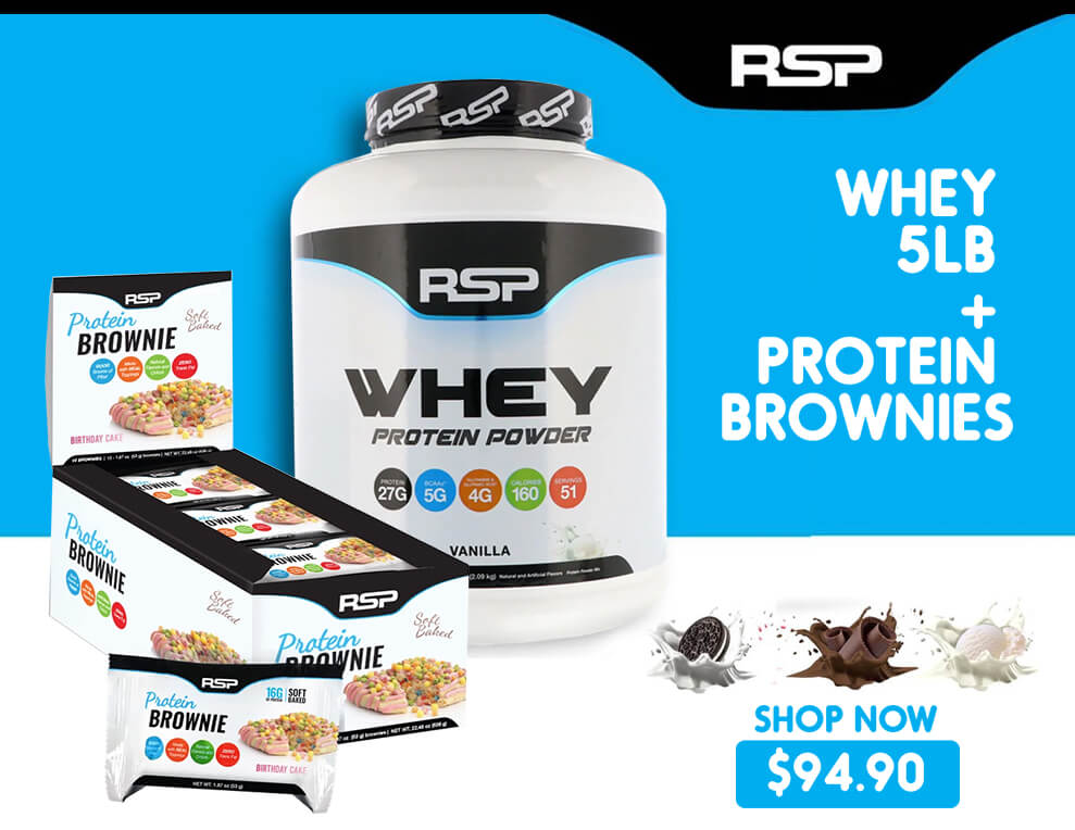 RSP Whey Protein & Free Brownie Bars Supplements Protein Pre Workout