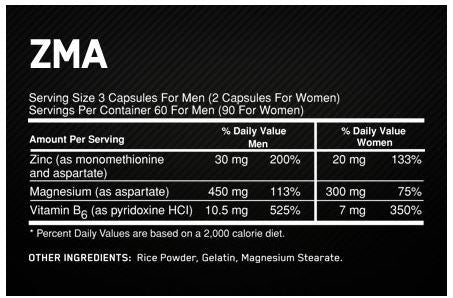 Optimum Nutrition ZMA Facts