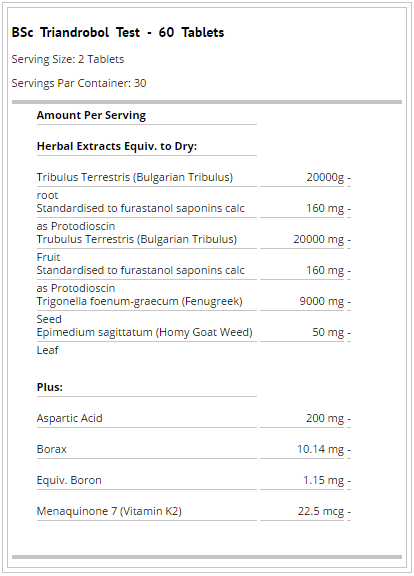 BSC TRIANDROBOL TEST FACTS TOPDOG NUTRITION