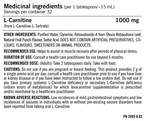 PVL Essentials Liquid L-Carnitine Facts