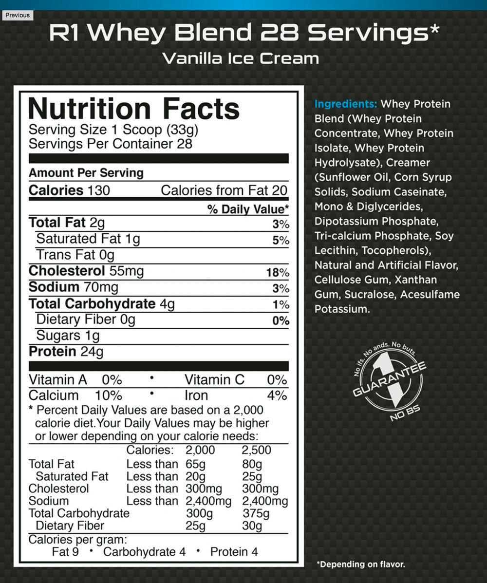 Rule 1 Whey Protein 2LB Nutrition Facts