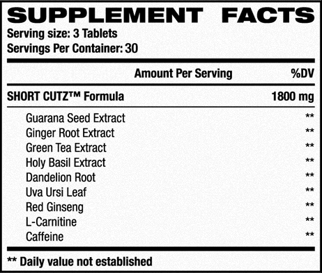 RivalUS Short Cutz Nutrition Facts