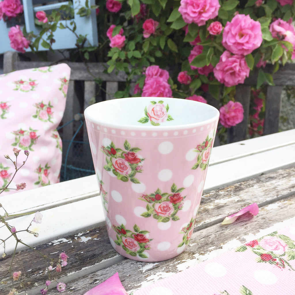 Becher Punkte mit Rosen - Happy Mug Dots and Roses - Krasilnikoff