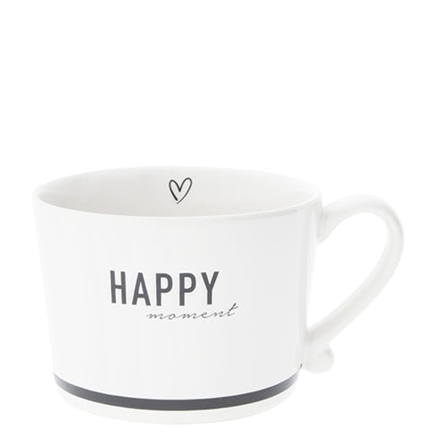 "Becher ""Happy moment"" schwarz - mit Henkel - Mug HAPPY moment Black"