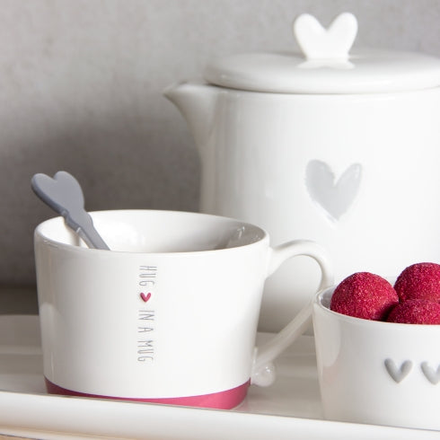 "Becher ""Hug in a mug"" grau mit rotem Herz - mit Henkel - Mug Hug in a mug grey Heart red"