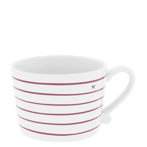 Becher Streifen in rot & Herz in grau - mit Henkel - Mug Stripes in Red & in Grey
