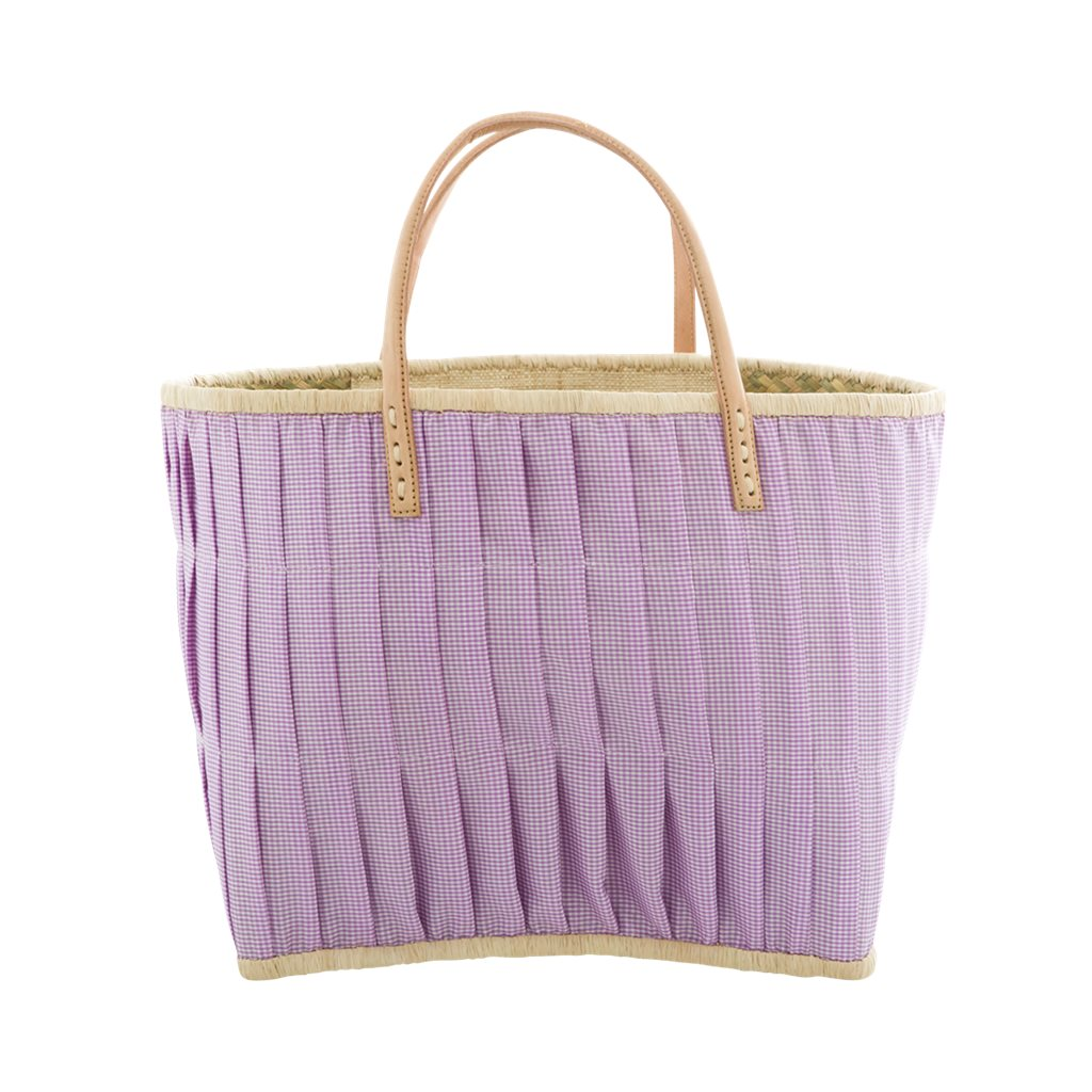 KORB, umnäht mit STOFF KARO lila weiss mit Lederhenkeln LARGE von rice - covered purple bag with leather handles